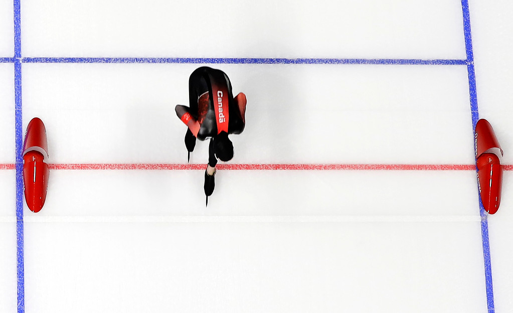 . Canada\'s Ted-Jan Bloemen pushes his skate over the finish line to set a new Olympic record breaking the one that Jorrit Bergsma of The Netherlands set in the previous race of the men\'s 10,000 meters speedskating race at the Gangneung Oval at the 2018 Winter Olympics in Gangneung, South Korea, Thursday, Feb. 15, 2018. (AP Photo/Eugene Hoshiko)