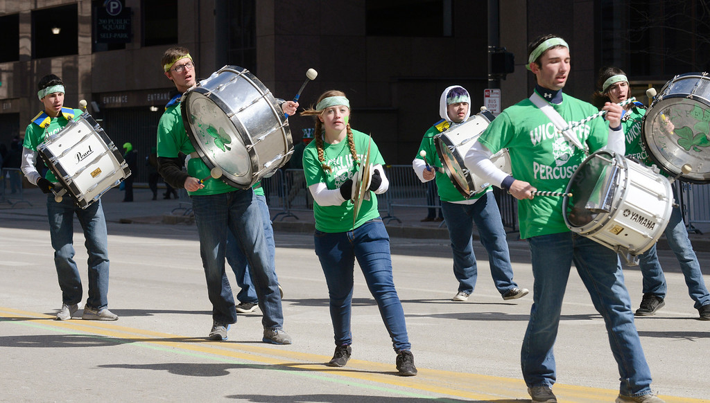 . Maribeth Joeright/MJoeright@News-Herald.com<p> Members of the Wickliffe Percussion Band participate in the 147th annual St. Patrick\'s Day Parade in Cleveland, March 17, 2014.