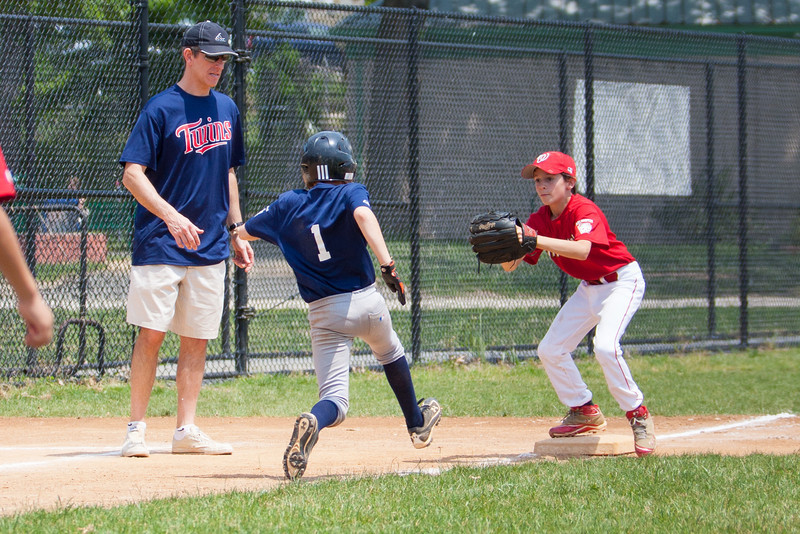 Alex fielded the next hit at the mound and threw home to stop the run. Christopher then made the throw to Luke at 3rd base and he tagged out the runner in the bottom of the 2nd inning. The bats of the Nationals were supported by a great defensive outing in a 11-4 win over the Twins. They are now 7-3 for the season. 2012 Arlington Little League Baseball, Majors Division. Nationals vs Twins (13 May 2012) (Image taken by Patrick R. Kane on 13 May 2012 with Canon EOS-1D Mark III at ISO 400, f4.0, 1/2000 sec and 98mm)