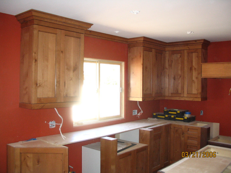 Great color for a kitchen, especially in contrast with the natural wood cabinets.