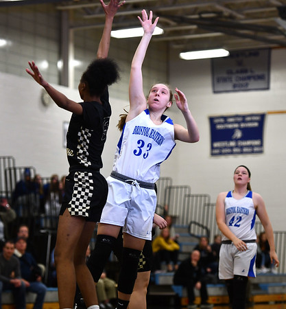 2/20/2020 Mike Orazzi | StaffrBristol Eastern's Jordan Ouellette (33) during Thursday night's CCC girls basketball game with East Hartford in Bristol.