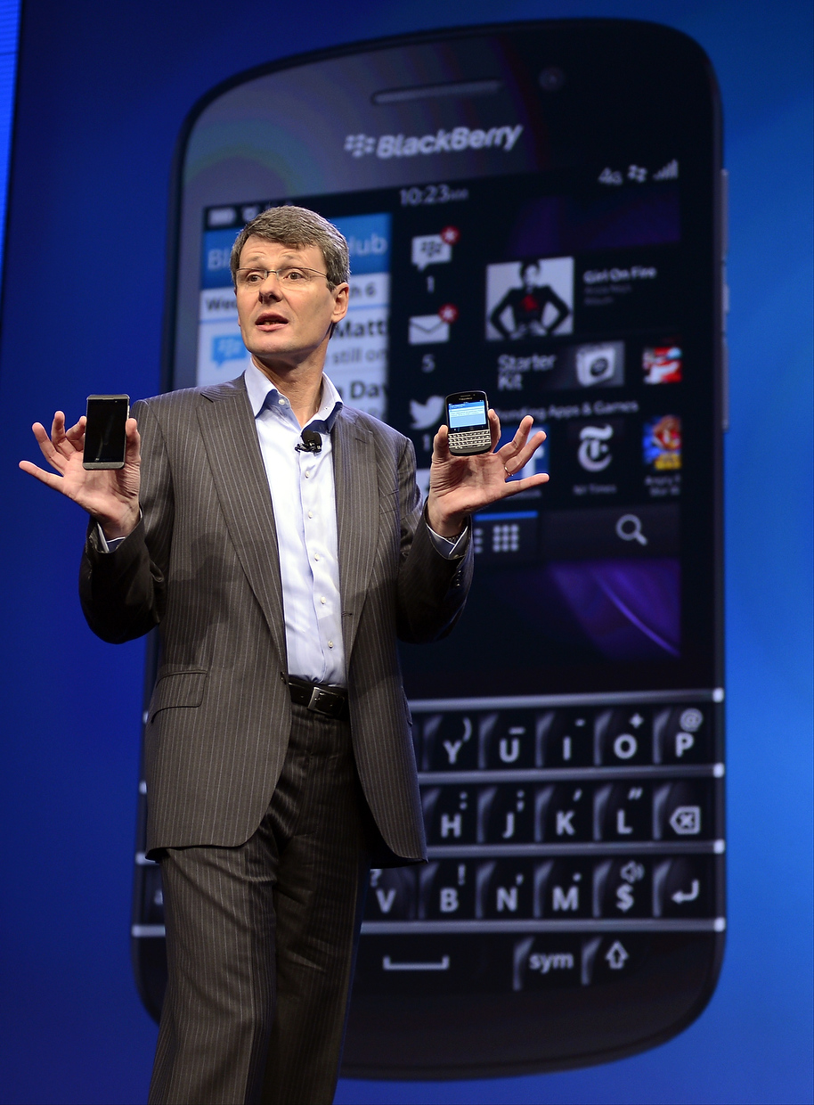 Description of . Research in Motion CEO Thorsten Heins as officially unveils the BlackBerry 10 mobile platform as well as two new devices January 30, 2013 at the New York City Launch at Pier 36. (TIMOTHY A. CLARY/AFP/Getty Images)
