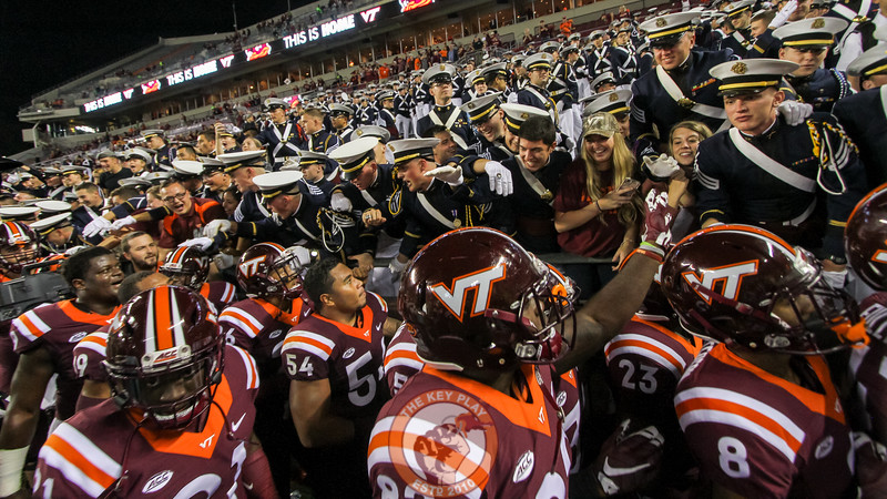 The Hokies walk past the Virginia Tech Corps of Cadets for high fives on their way back to the locker room at the end of the game. Virginia Tech defeated Miami 37-16. (Mark Umansky/TheKeyPlay.com)