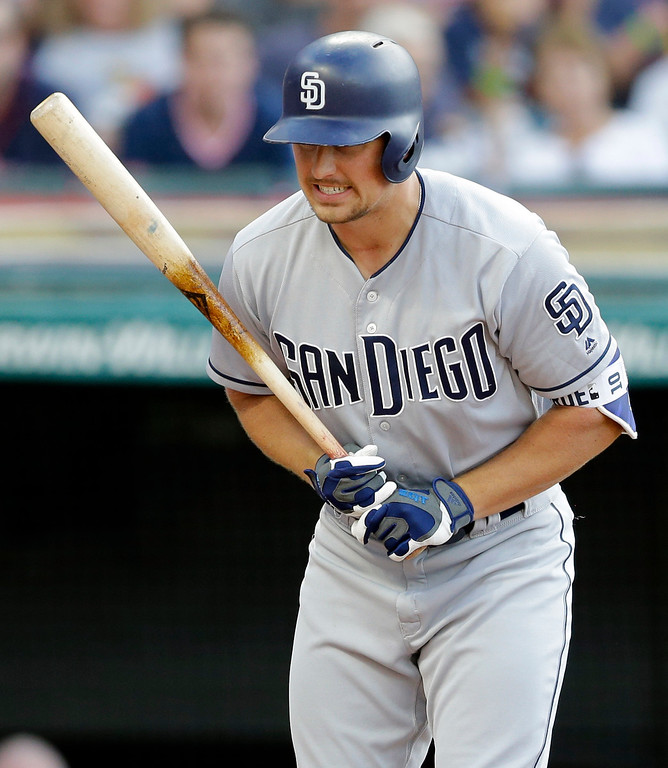 . San Diego Padres\' Hunter Renfroe reacts after striking out against Cleveland Indians starting pitcher Trevor Bauer in the third inning of a baseball game, Wednesday, July 5, 2017, in Cleveland. (AP Photo/Tony Dejak)