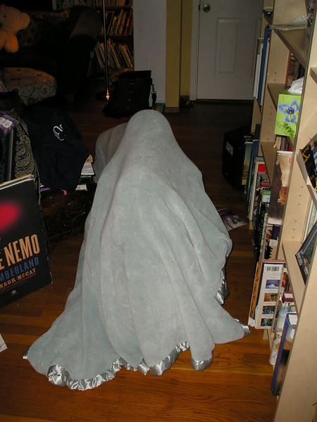 The blanket monster moves into the living room.