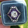 2.27ct (est) Art Deco Old European Cut Diamond with Amethyst Halo Ring 27