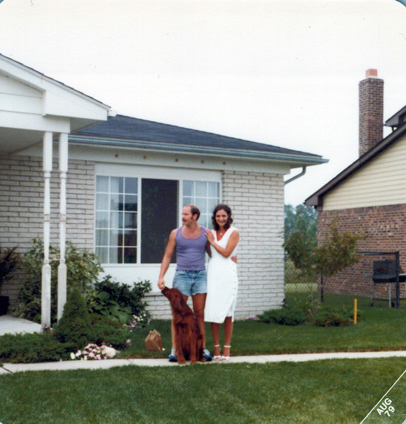 1979 Mike and Teri Hillier with Candy the dog.jpeg