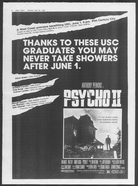 Daily Trojan, Vol. 93, No. 65, April 25, 1983
