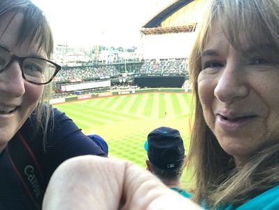 Evie and Joan watch the M's v. METS