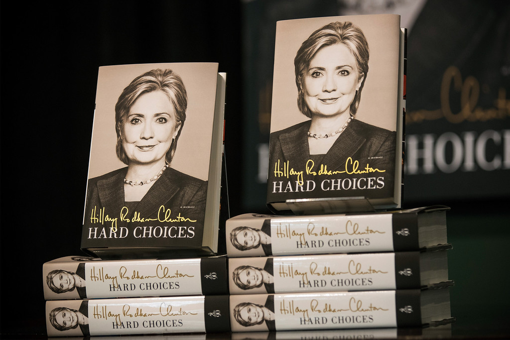 ". Copies of former Secretary of State Hillary Clinton\'s new book ""Hard Choices\"" sit at a Barnes & Noble prior to a book signing on June 10, 2014 in New York City.  (Photo by Andrew Burton/Getty Images)"