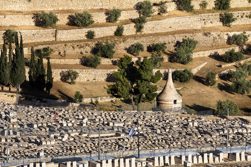 Absalom's Tomb, is an ancient monumental rock-cut tomb with a conical roof.  Absalom was the third son of King David and killed in battle