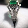 1.29ctw Emerald and Diamond Modified Halo Ring 12