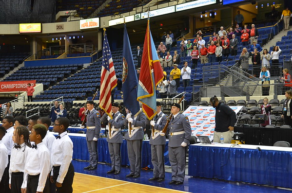 FUMA Color Guard Presents the Colors at the Atlantic 10 Women's BB Championship in Richmond, VA