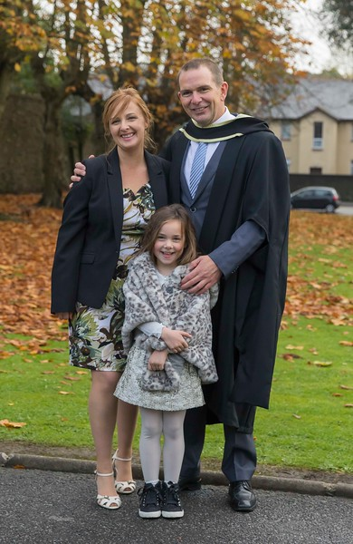 29/10/2015. Waterford Institute of Technology Conferring. Pictured is Paul Byrne from Duncannon, Co Wexford who graduated Master of Business, also pictured is Joan and Mia Byrne. Picture: Patrick Browne
