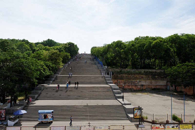 Odessa - Potemkin Stairs. There are 192 (originally 200) stairs leading form the harbor to the city. On top of the stairs is a statue of  Armand de Richelieu, the first Governor of the city.