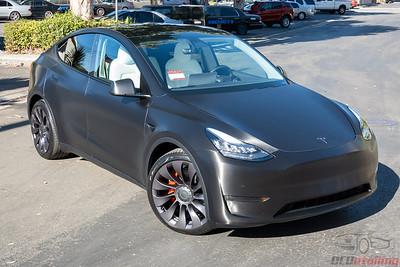 Tesla Model Y - Brushed Black Metallic Vinyl Wrap
