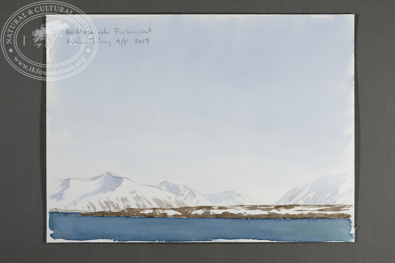 "Midtøya and Prins Karls Forland seen from m/s Origo | 9.5.2019 | ""I want to convey what I see with immediacy and simplicity to make the viewer feel present on the Arctic scene."" 