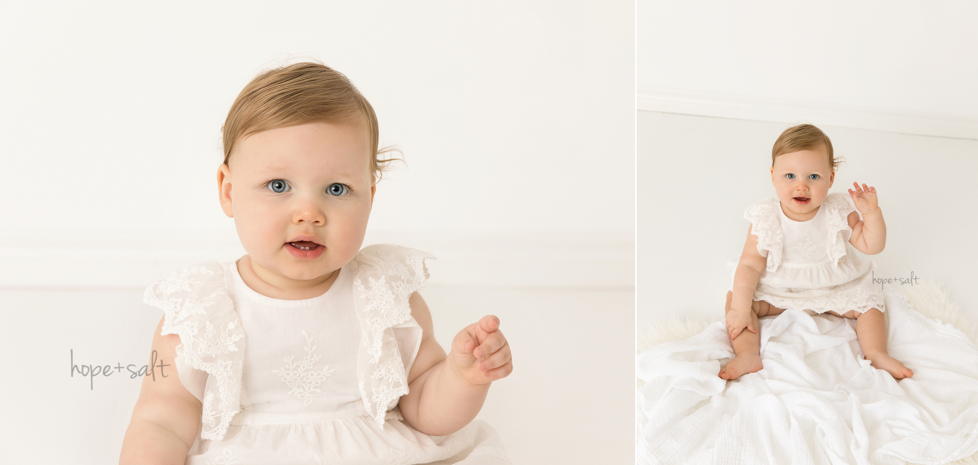 oakville ontario baby photographer - first birthday studio session for 1 year old girl Madeleine in simple natural style by Hope + Salt