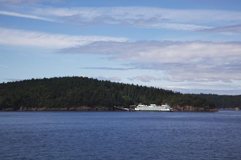 Washington State Ferry docked at Lopez Island. San Juan Islands, Washington.
