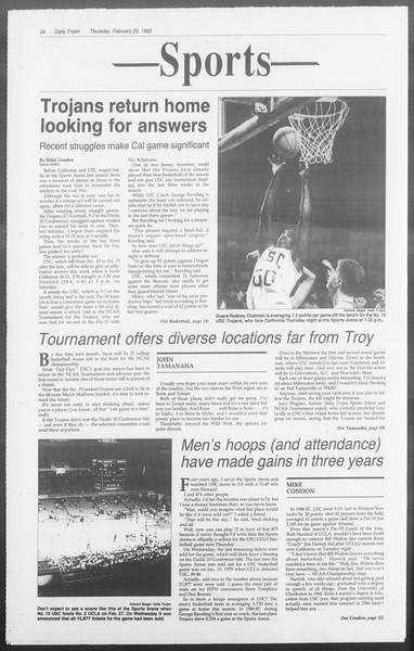 Daily Trojan, Vol. 117, No. 24, February 20, 1992