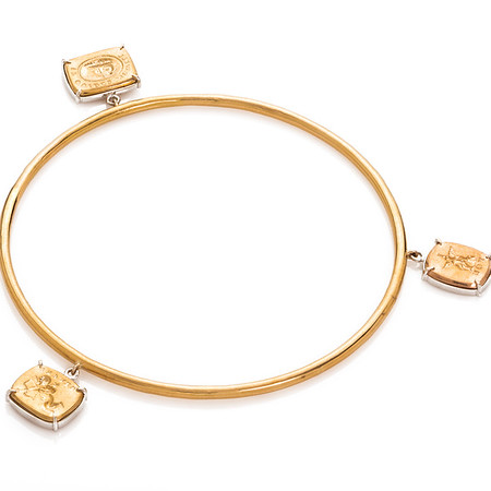 """Love Story Bangle"" w/ 3 Cupid charms  (18kt Royal/white/rose gold charms on 18kt Royal gold bangle)"