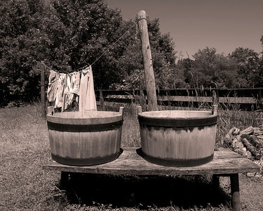 Washing buckets and clothes line at a farm house in Wisconsin.