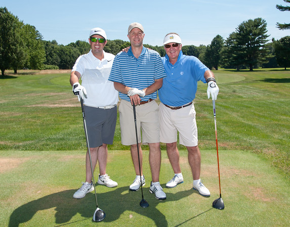 07/09/18 Wesley Bunnell | Staff Golf pros Tim Gavronski of Shuttle Meadow Country Club, Kyle Hedstrom of Stanley Golf Course and Marc Bayram of Timberlin Golf Course held their annual 100 Holes for Junior Golf on Monday at Shuttle Meadow Country Club to raise funds for the CT PGA Golf Foundations which supports Junior golf in CT. Marc Bayram, L, Kyle Hedstrom and Tim Gavronski after golfing for 82 holes.