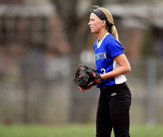 4/9/2019 Mike Orazzi | Staff Southington's Kristin Rose (3) during Tuesday's softball game in Bristol.
