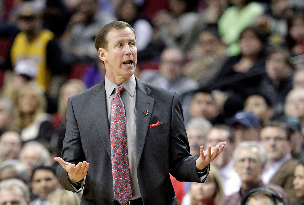 . Portland Trail Blazers coach Terry Stotts reacts to a call during the first half of an NBA basketball game against the Los Angeles Lakers in Portland, Ore., Monday, March 3, 2014. (AP Photo/Don Ryan)