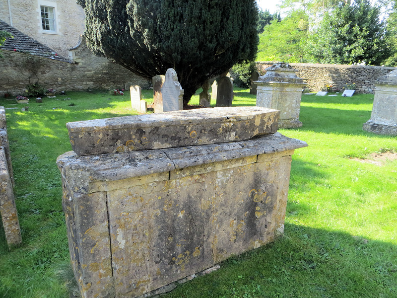 This is a rather unusual chest tomb.  It appears to have another stone, carved in the shape of a casket, on top of it.