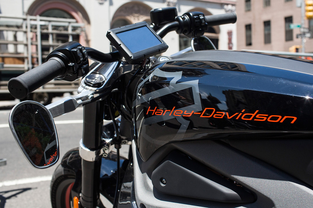 . A Harley Davidson Livewire motorcycle, Harley Davidson\'s first electric bike, sits on display outside the Harley Davidson Store on June 23, 2014 in New York City. The Livewire has 74 horsepower and a top speed of 92 miles per hour.  (Photo by Andrew Burton/Getty Images)
