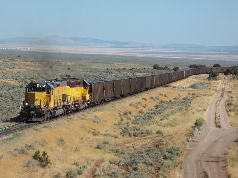 Utah Southern SD40T-2 3100 with train. September 12, 2011. <i>(Robert Lehmuth Photo)</i>