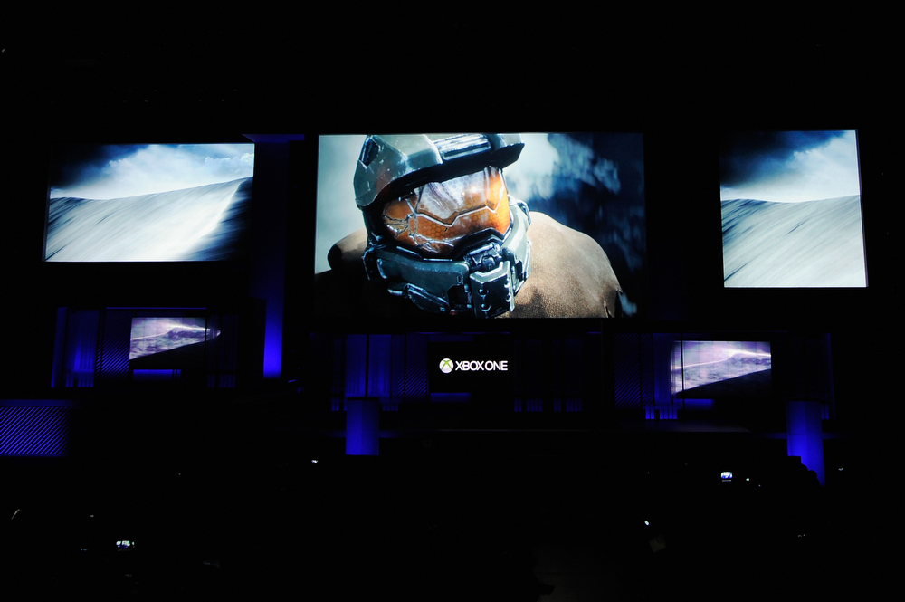 . Halo Xbox video game during Microsoft Xbox news conference at the Electronic Entertainment Expo at the Galen Center on June 10, 2013 in Los Angeles, California. Thousands are expected to attend the annual three-day convention to see the latest games and announcements from the gaming industry.  (Photo by Kevork Djansezian/Getty Images)