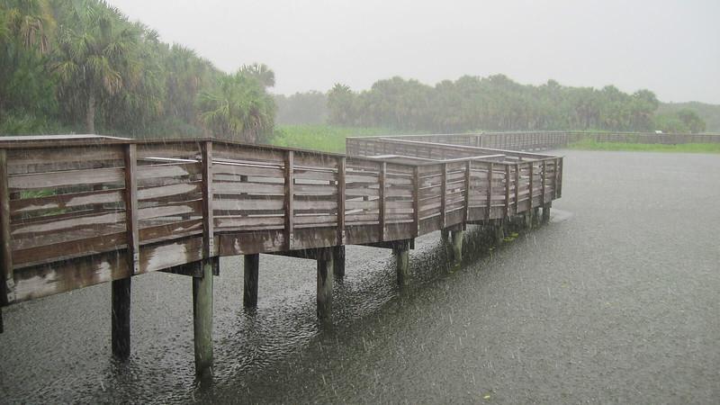 Pouring rain on boardwalk