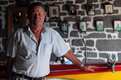 Almorindo Pimentel de Lemos, born 1945, in the whaleboat house in Calheta de Nesquim, Pico. August 14, 2012.