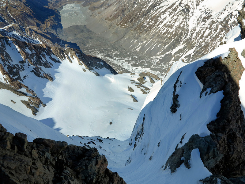 Looking down the South Face of Pibrac from the summit ridge