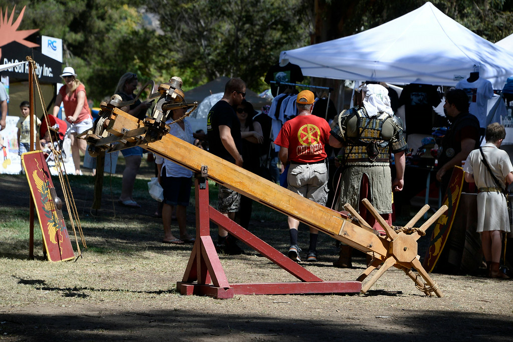 . Aug 31,2014, sylmar CA. One of the many roman war weapons on display during the 2014 Sylmar Olive Festival.  Photo by Gene Blevins/LA DailyNews