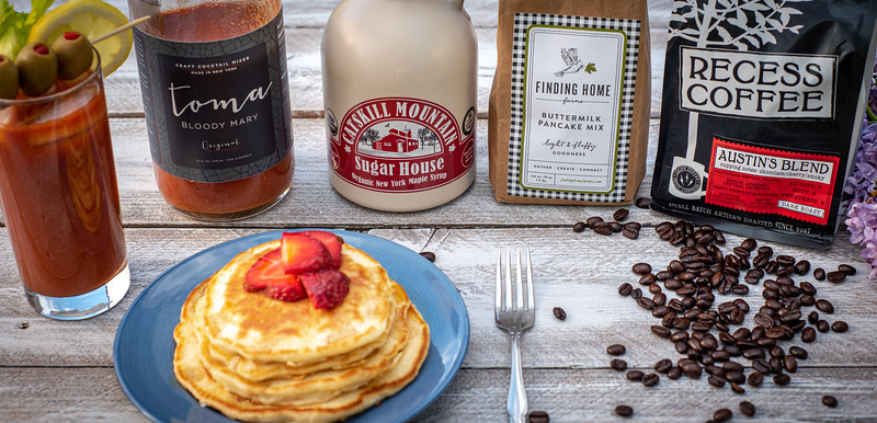 Mother's Day Brunch - Maple syrup - bloody mary - coffee - pancakes