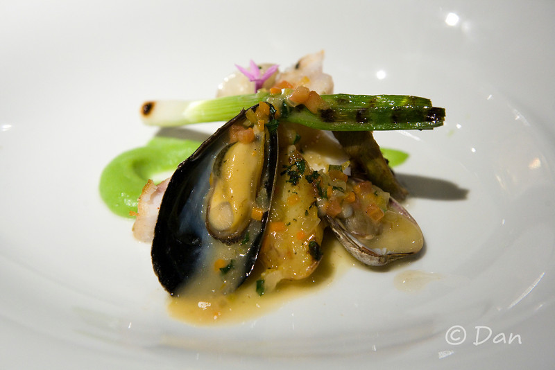 "John Dory ""St. Pierre,"" Purple Artichokes, Scallion Mousseline, Shellfish Sauce"