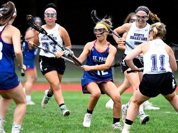 5/31/2018 Mike Orazzi | Staff St. Paul's St. Paul's Christina Pisani (12) during the girls Class S Quarterfinals lacrosse at North Branford High School Thursday evening.