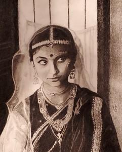 """An Indian bride"" (charcoal) by Preetha Bhattacharya"