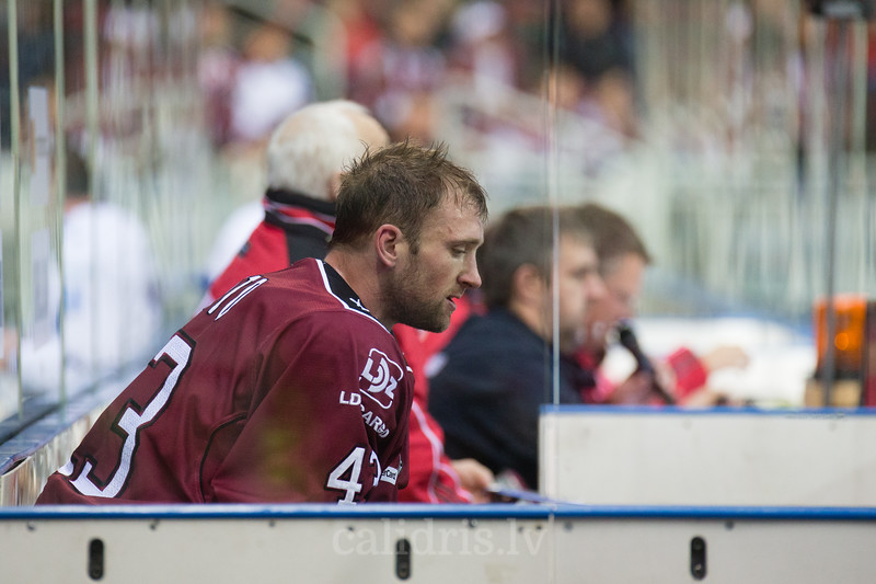 Tim Sestito (43) in the penalty box in the KHL regular championship game between Dinamo Riga and Dynamo Moscow, played on October 3, 2016 in Arena Riga