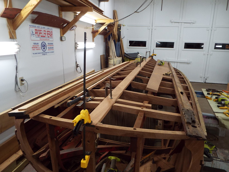 Rear view of the new keel being fit.
