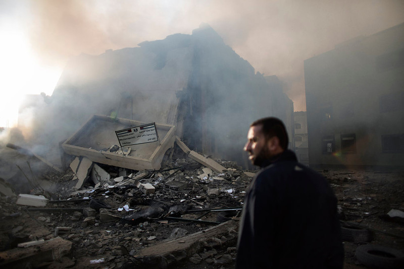. A Palestinian man looks at rubble of the Civilian Affairs branch of the Ministry of Interior following an Israeli air raid in Gaza City on November 16, 2012. Israel was condemned by much of the Arab world while securing Western backing and pressing its biggest air assault on Gaza for years amid a wave of Palestinian short-range rocket fire. MARCO LONGARI/AFP/Getty Images