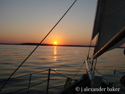 Maine coast sunset, coming into Boothbay Harbor