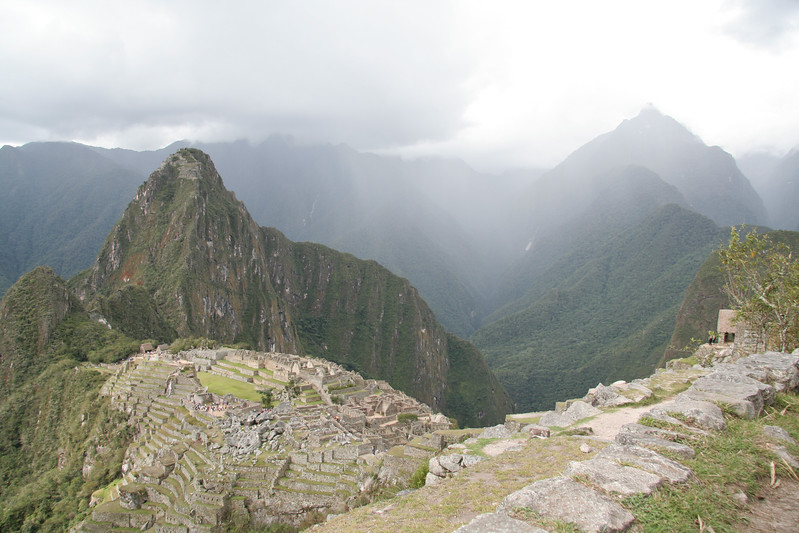 Rain started coming down over the site as I returned from the walk around the back of Machu Picchu mountain.