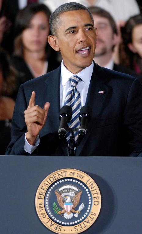 . President Barack Obama announces he is installing former Ohio Attorney General Richard Cordray as director of the Consumer Finance Protection Bureau at Shaker Heights High School in January 2012. (News-Herald file)