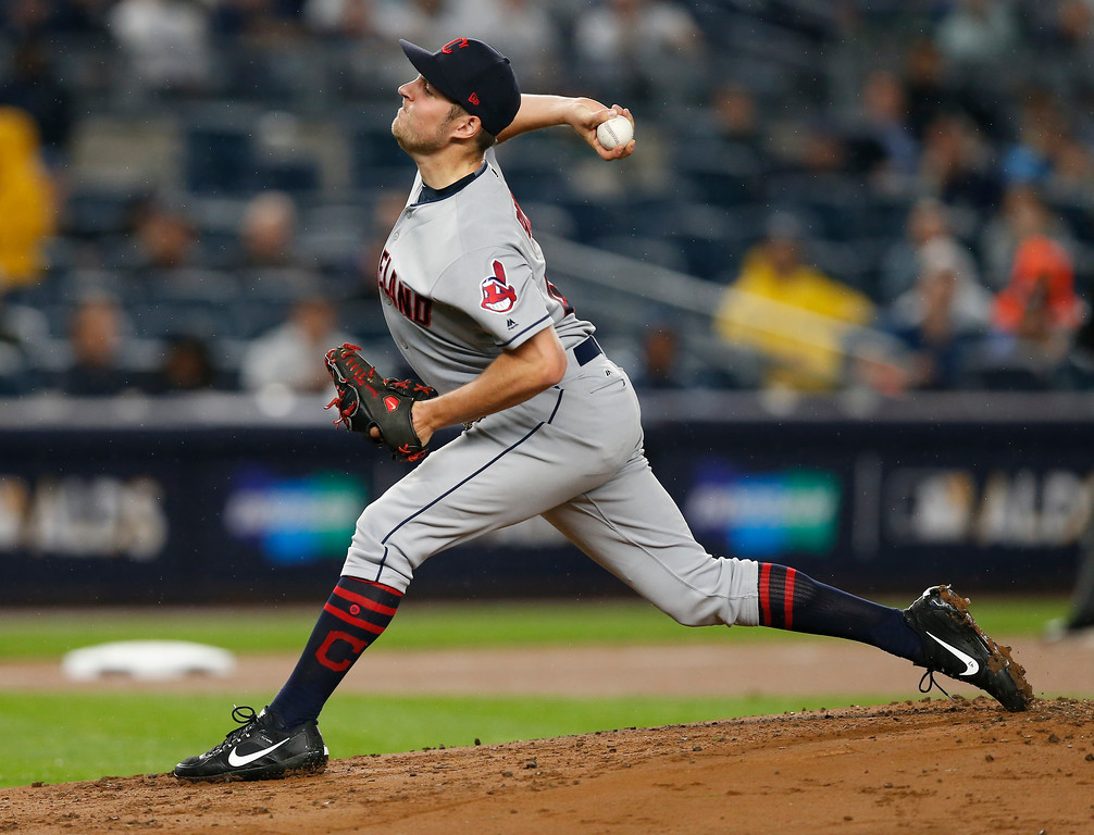 . Cleveland Indians pitcher Trevor Bauer delivers against the New York Yankees during the first inning in Game 4 of baseball\'s American League Division Series, Monday, Oct. 9, 2017, in New York. (AP Photo/Kathy Willens)