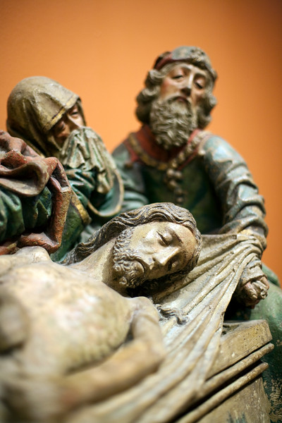 """Detail from """"Crying for the dead Christ"""", sculpture by Pedro Millan (circa 1490), Fine Arts Museum, Seville, Spain"""