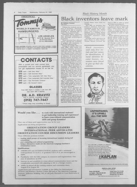 Daily Trojan, Vol. 106, No. 30, February 24, 1988